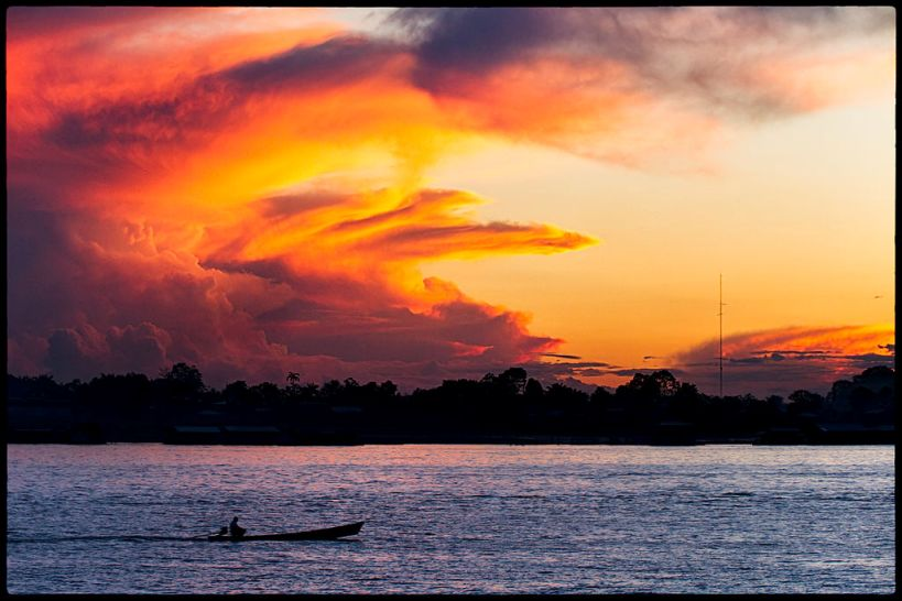 Sunset on the Amazon River. ©Pedro Szekely