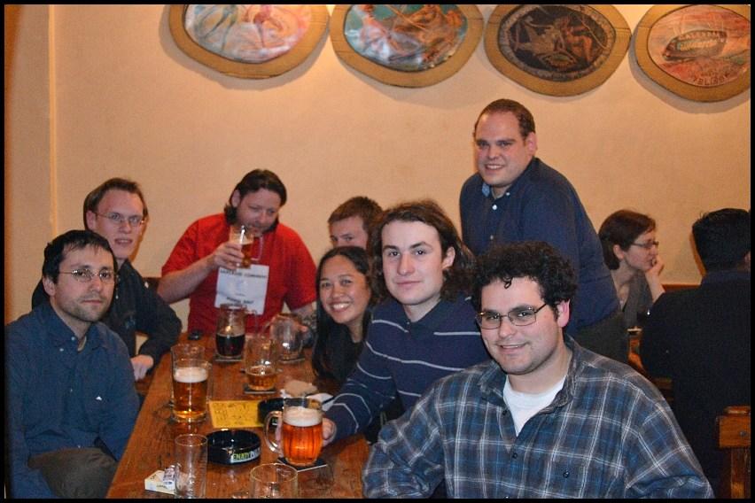 At the CS meet-up in a bar in Žižkov.