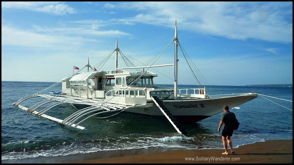 This huge boat took us to Apo Island.