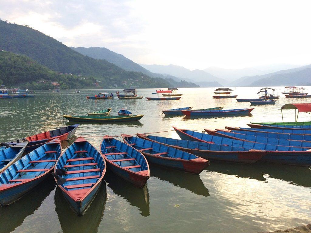 sunset pokhara nepal lake phewa