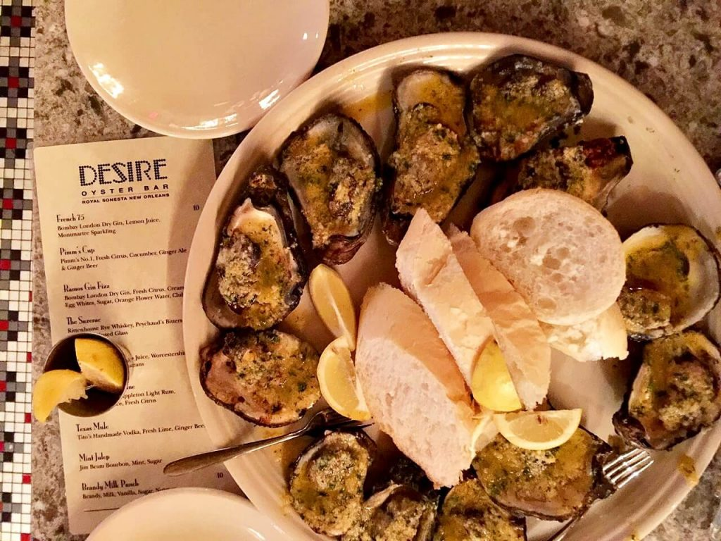 Char-grilled Oysters in New Orleans (Desire Oyster Bar)