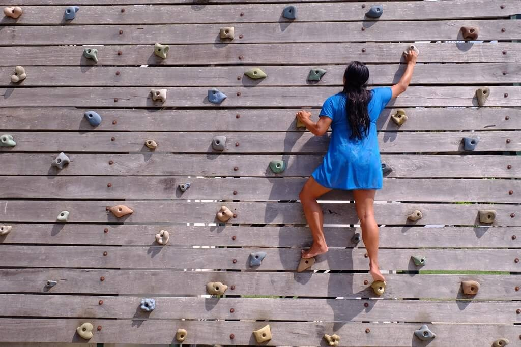 wall climbing in the resort